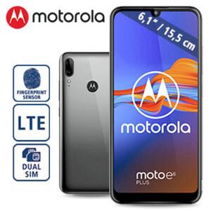 Smartphone Moto E6 Plus · 3 Kameras (13 MP + 2 MP / 8 MP) · 2-GB-RAM, 32-GB-interner Speicher · microSD™-Slot bis zu 512 GB · Entsperren per Gesichtserkennung · Android™ 9.0