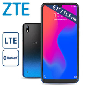 Smartphone Blade™ A7 2019 · 2 Kameras (16 MP/8 MP) · 2-GB-RAM, 32-GB-interner Speicher · Hybrid-Slot für eine zweite nanoSIM oder eine microSD™ Karte bis zu 256 GB · Android™ 9