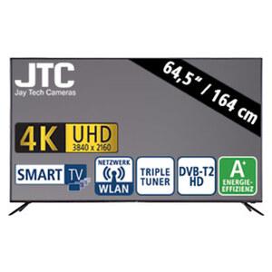"""64,5""""-Ultra-HD-LED-TV S65U5114J • 3 HDMI-/2 USB-Anschlüsse, CI+ • Stand-by: 0,5 Watt, Betrieb: 110 Watt • Maße: H 84,3 x B 146,1 x T 8,5 cm • Energie-Effizienz A+ (Spektrum A+++ bis D)"""