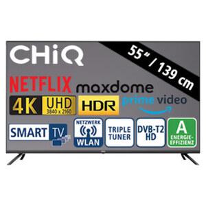 "55""-Ultra-HD-LED-TV U55H7N • HbbTV • 3 HDMI-/2 USB-Anschlüsse, CI+ • Stand-by: 0,5 Watt, Betrieb: 93 Watt • Maße: H 71,7 x B 123,1 x T 9,3 cm • Energie-Effizienz A (Spektrum A+++ bis D)"