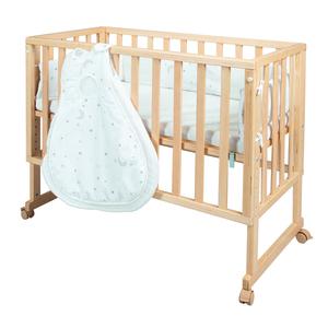 safe asleep® von roba Stubenbett 3 in 1 Sternenzauber Beistellbett natur, Babybett & Kinderbank aus Holz inkl. kompletter Ausstattung & Schlafsack