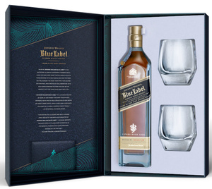 Johnnie Walker Blue Label Blended Scotch Whisky + 2 Crystal Tumbler Geschenkset | 40,0 % vol | 0,7 l