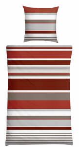 Schiesser Feinbiber-Bettwäsche 135 x 200/80 x 80 cm, Querstreifen rot