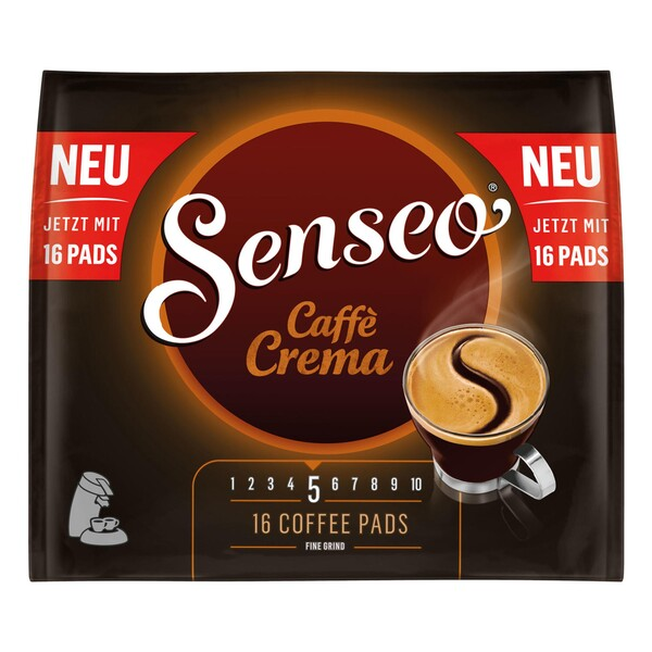 Senseo Caffe Crema, Kaffeepads, Aromatisch und Vollmundig, Röstkaffee, Kaffee, 16 Pads