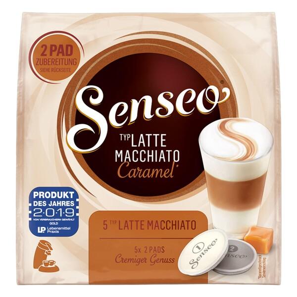 Senseo Kaffeepads Latte Macchiato Caramel, Karamellgeschmack, Cappuccino, Kaffee Pad, Relaunch, neues Design, 10 Pads für 5 Portionen