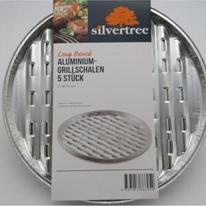 Silvertree Alu-Grillschalen Long Beach | Rund | 5 Stück | 2 x Ø 34 cm | Grillpfanne | Sauberes und raucharmes Grillen