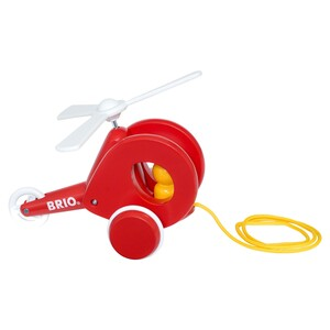 BRIO Nachzieh-Hubschrauber, Nachziehspielzeug, Ziehspielzeug, Holzspielzeug, Holz Spielzeug, 30227