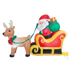 Weihnachtsmann mit Schlitten und Rentier aufblasbar