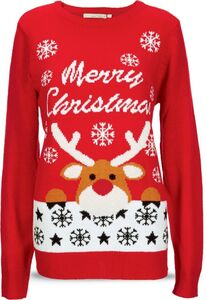 Damen Christmas Sweater - rot, Gr. XL