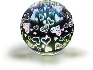 Dekor LED Feuerwerk-Echtglaskugel, ca. Ø15 cm - Herzen