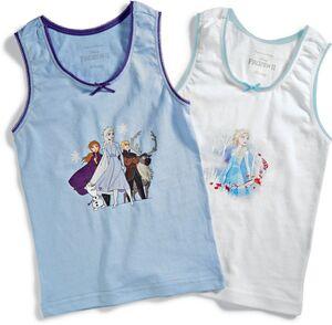 Kinder Unterhemd Disney Frozen II, 2er Pack - lila & weiß, Gr. 86/92