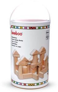 Beeboo Natur Holzbausteine in der Trommel, 200-teilig
