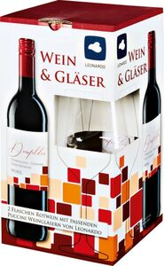 Wein und Gläser 2 x 0,75 Liter
