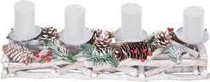 Adventsgesteck länglich, Weihnachtsdeko Adventskranz, Holz 11x15x50cm weiß-grau ~ mit Kerzen, weiß
