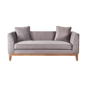 Samt-Sofa im skandinavischen Stil, 2-Sitzer, grau