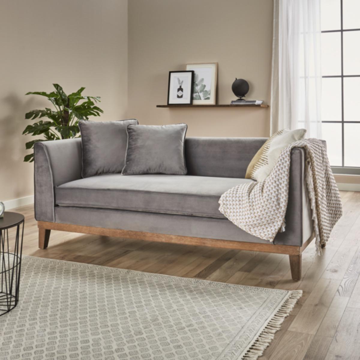 Bild 2 von Samt-Sofa im skandinavischen Stil, 2-Sitzer, grau
