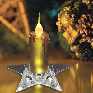 Näve LED Kerze mit Sternenfuss, gold