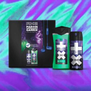 AXE Geschenkset Martin Garrix, Duschgel 250ml + Deospray 150ml + Sony In-Ear-Headphones mit Martin-Garrix-Gravur