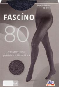 FASCÍNO Strumpfhose mit Glitzerdruck, 80 den, blau/ schwarz, Gr. 46/48