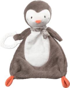 PUSBLU Schmusetuch Pinguin mit Beißring, grau, orange