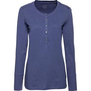 Schiesser Damen Langarmshirt mit Knopfleiste, blau, 40, 40