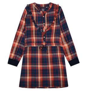 Jette Kleid, Blusen-Optik, kariert, für Mädchen, blau/orange, 152