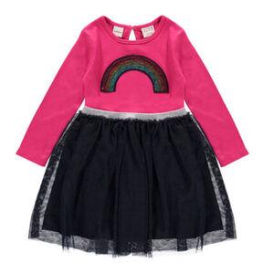 manguun Tageskleid, Tüllrock, Pailletten, Glitzer-Applikationen, für Mädchen, pink/schwarz, 98