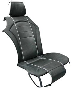 Premium Sitzauflage, Lederlook schwarz