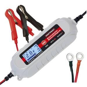 KRAFTPAKET Batterieladegerät 6 / 12 Volt - 4 A - mit Polklemmen und Ringösenkabel Dino