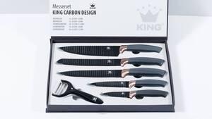 Messer-Set mit Sparspäler, in Carbon-Optik, Schwarz/ Roségold, 6-teilig King