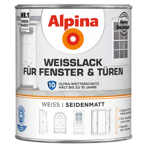 Alpina Weißlack für Fenster und Türen, seidenmatt, 750 ml