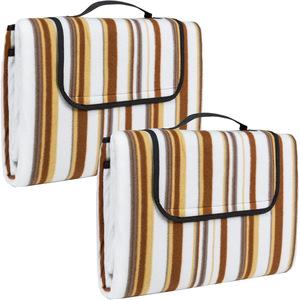 2 Picknickdecken 200x150cm beige