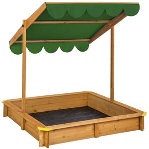 Sandkasten mit verstellbarem Dach grün