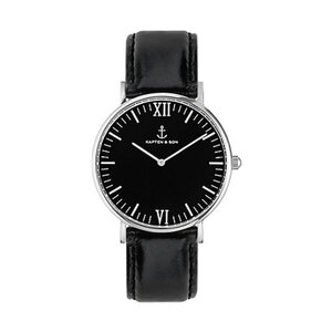 Kapten & Son Uhr Campus All Black Silver Leathe CB03B0199F11A