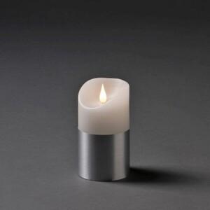 Konstsmide LED Echtwachskerze weiß mit silberfarbener Banderole ,  13,5 x 7,5 cm