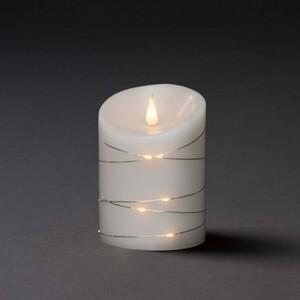 Konstsmide LED Echtwachskerze weiß ,  14 x 10 cm