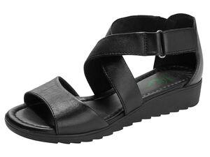 Footflexx Sandalen Damen, weiter Schnitt, gepolstertes Lederfußbett