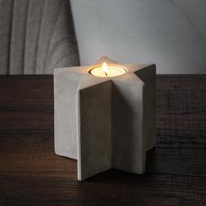 Teelichthalter in Grau H ca. 10 cm 'Stern'