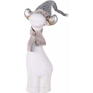 Polystone-Rentier mit Schal und Mütze