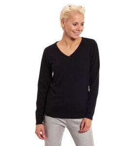 Adagio Damen Cashmere-Pullover mit Rippstruktur, V-Auschnitt, schwarz, 46, 46