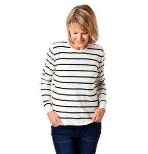 Adagio Damen Cashmere-Pullover, gestreift, off-white, 40, 40