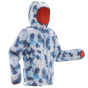 Skijacke warm wendbar 100 Kinder blau/koralle