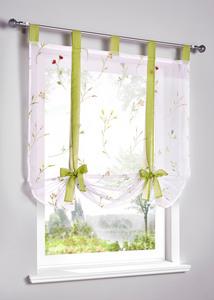 Bestickte Bindegardine mit Blumenranken
