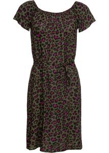 Crincle-Off-Shoulder-Kleid mit Leoprint