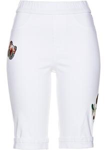 Jeans-Bermuda mit Stickerei