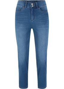7/8 Push-up Stretchjeans mit Schlitz, Straight