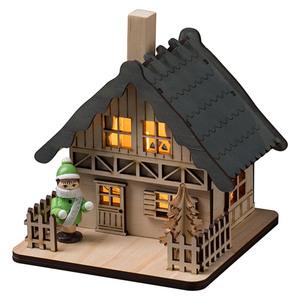 Konstsmide LED-Weihnachtsleuchte Holzhaus mit grauem Dach