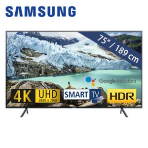 UE75RU7099 • 3x HDMI, 2x USB, CI+ • geeignet für Kabel-, Sat-und DVB-T2-Empfang • Maße: H 96,6 x B 168,5 x T 6 cm • Energie-Effizienz A+ (Spektrum A++ bis E)
