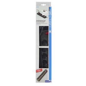 uniTec Steckdosenleiste mit Schaltern 6-fach in Schwarz