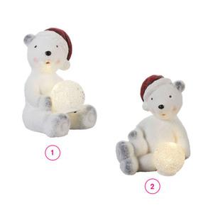 ProVida Eisbär sitzend mit LED-Kugel in versch. Varianten
